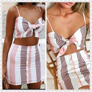Dresses & Skirts - *🆕️ JUST IN* pink stripe skirt set